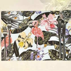 DISCONTINUED - 24 Disposable Placemats | Flamingo Floral