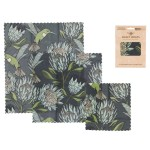 Pack of 3 Beeswax Wraps   Protea Blue on Gunmetal