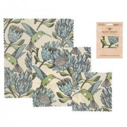 Pack of 3 Beeswax Wraps | Protea Blue on White