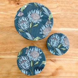Pack of 3 Bowl Covers | Protea Blue on Gunmetal