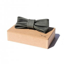 Leather Bow Tie | Blue-Grey