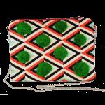 Boho Pompom Bag | Green and Black