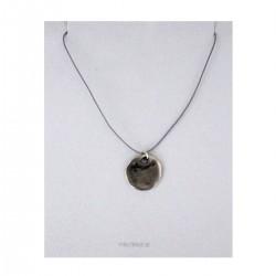 Beaten Silver Circle Pendant on Adjustable Silk Cord