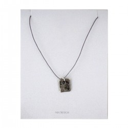 Beaten Silver Square Pendant on Adjustable Silk Cord