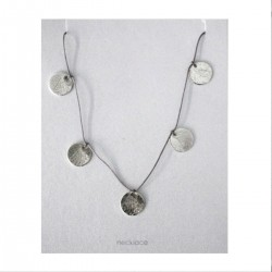 Brushed Discs on Silk Cord Necklace