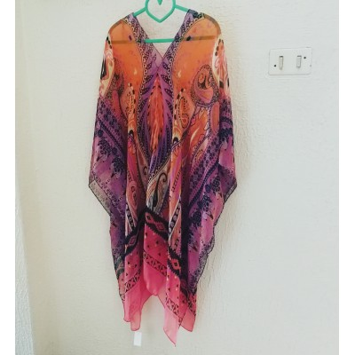 Chiffon Kaftan | Sunburst Orange