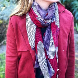 Scarf   Leafing Luxury Red White