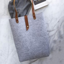Tote with Leather Handle | Recycled Plastic
