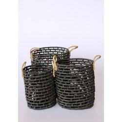 Set 3 | Black Woven Seagrass Baskets
