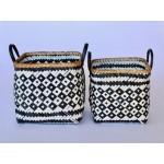 Set 2 | Black & White Bamboo Baskets