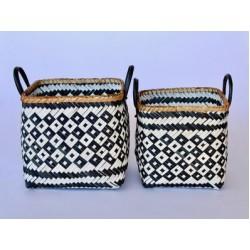 Set 2   Black & White Bamboo Baskets