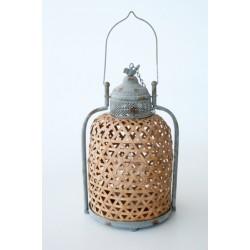 Bamboo & Metal Lantern   Medium