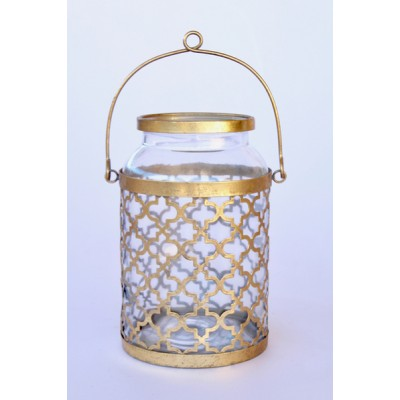Gold Moroccan Glass Candle Holder Medium
