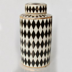 Black & White Harlequin Round Jar With Lid