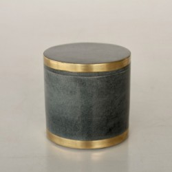 Black Soap Stone & Brass Round Cannister