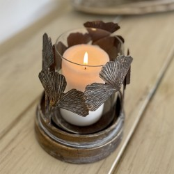 Gold Distressed Metal Candle Holder | Nature