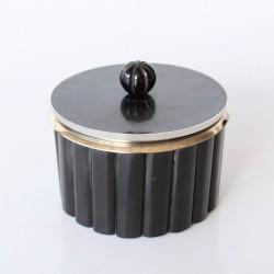 Medium Black Bone Round Box With Silver Lining