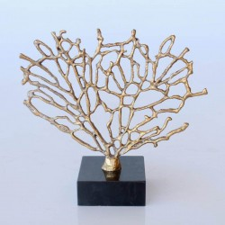 Metal Coral On Marble Stand