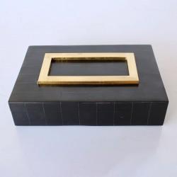 Oblong Bone Black Box With Gold Trim