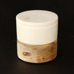 Round Marble & Wooden Cannister with Lid