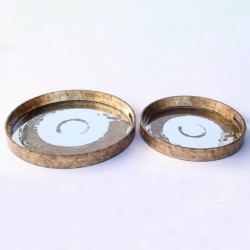 Set Of 2 Round Gold Swirl Trays
