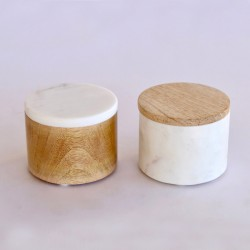 Set Of 2 White Marble & Wooden Round Boxes