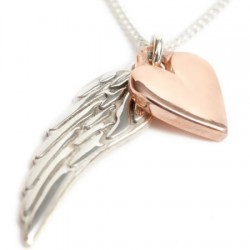 Angelwings & Rose Gold Heart Necklace
