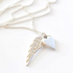 Angelwings & Silver Heart Necklace
