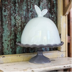 Cake Stand with Bunny Ears Lid | Teal Lid, Grey Bottom