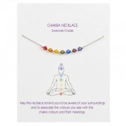 Chakra Beads on Grey Silk   Necklace