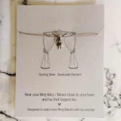 Little People Necklace with Swarovski on Grey Silk