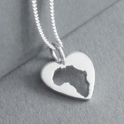 Africa in Heart Pendant | 45cm Chain | Sterling Silver