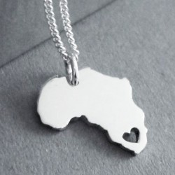Africa with Heart | Love SA | 45cm Chain | Sterling Silver