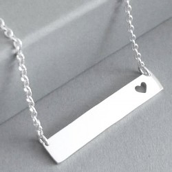 Bar Pendant with Heart | 45cm Chain | Sterling Silver