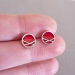 Circle Crossover Resin Stud Earrings | Sterling Silver