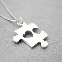 Puzzle Piece with Heart Pendant | 45cm Chain | Sterling Silver