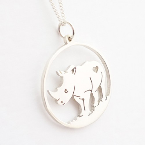Large Rhino Pendant on 45cm Chain | Sterling Silver