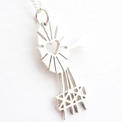 Large Windmill Pendant on 45cm Chain   Sterling Silver