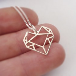 Origami Heart | 45cm Chain | Sterling Silver