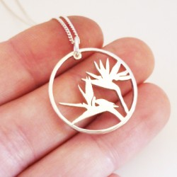 Large Strelitzia Pendant on 45cm Chain | Sterling Silver