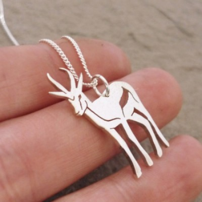 Large Springbok Pendant on 45cm Chain | Sterling Silver