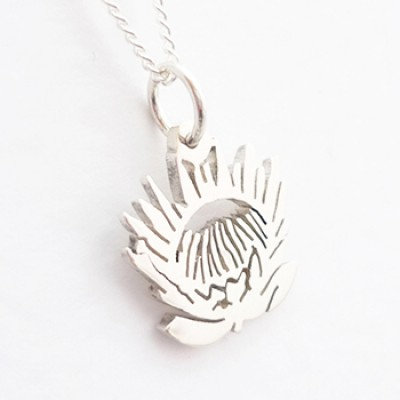 Large Protea Pendant on 45cm Chain| Sterling Silver
