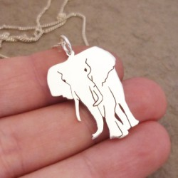 Large Elephant Pendant on 45cm Chain | Sterling Silver