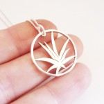 Large Aloe Pendant on 45cm Chain | Sterling Silver