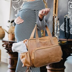 Nappy Bag & Changemat | Leather | Hazelnut