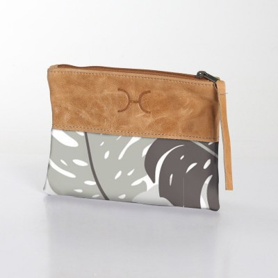 Fabric & Leather Pouch | Leafing Rabbit