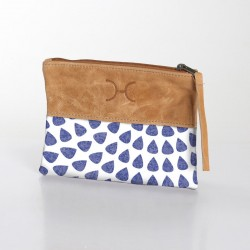 Fabric & Leather Pouch | Scale Blue