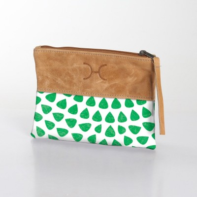 Fabric & Leather Pouch | Scale Green