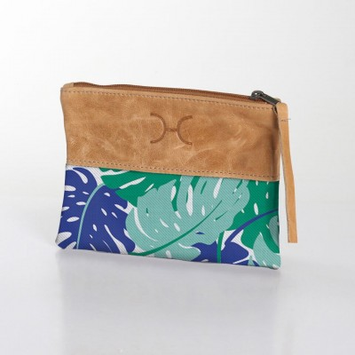Fabric & Leather Pouch | Leafing Emerald