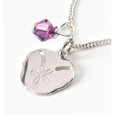 Pansy Shell on Silver Chain with Swarovski Crystal